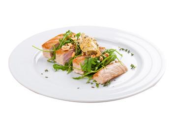 Tuna steak on a white background