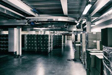 The interior of the warehouse