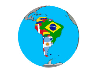 South America with embedded national flags on blue political 3D globe. 3D illustration isolated on white background.
