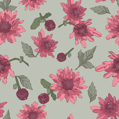 Seamless pattern with dahlia flowers.