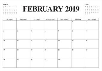 February 2019 desk calendar vector illustration