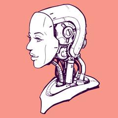 AI. Artificial Intelligence, futuristic female robot hand-drawn sketch style vector