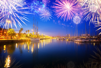 Port Vell and embankment of Barcelona with fireworks, Spain