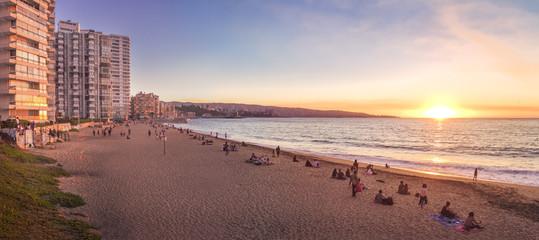 Panoramic view of Acapulco beach at sunset - Vina del Mar, Chile