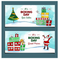 Happy Boxing day sale design with gift boxes , holiday big savings