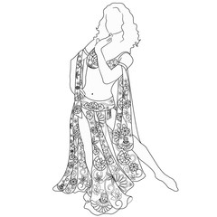 coloring with a woman dancing belly dancing