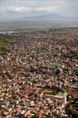 Aerial view of dense buildings and houses at Manila, Philippines