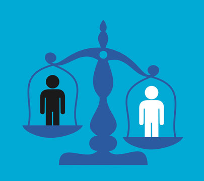 Racial discrimination and inequality based on racial skin color - person is discriminated on the weigh. Multicultural society with problem of racism and ethnic superiority. Vector illustration