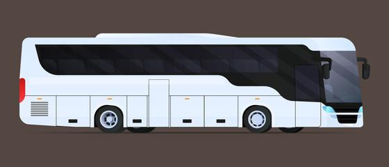 Big tour bus. Flat vector illustration