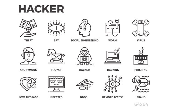 Hacker thin line icons. Internet, cyber security, hacking and other Icons. Editable line.