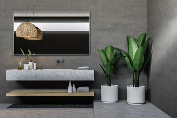 Gray bathroom sink with mirror