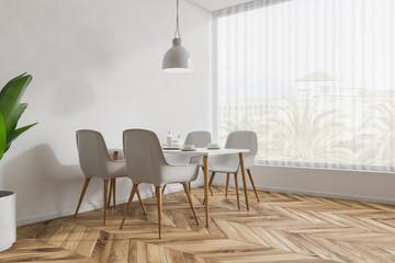 White cafe corner, white chairs