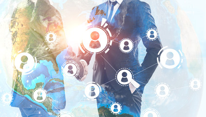 Men shake hands, global people network