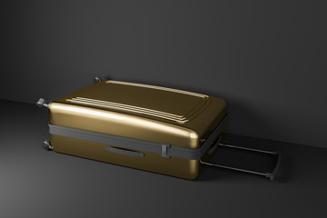 Gold suitcase lying in black room