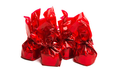 Chocolate candy in a wrapper isolated