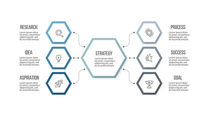 Business infographic. Organization chart with 6 options, hexagons. Vector template.