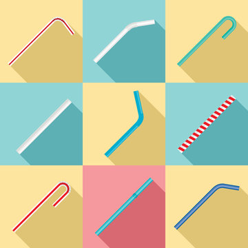 Drinking straw day icon set. Flat set of drinking straw day vector icons for web design