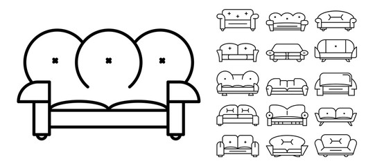 Sofa icon set. Outline set of sofa vector icons for web design isolated on white background