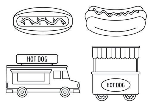 Hot dog shop cart icon set. Outline set of hot dog shop cart vector icons for web design isolated on white background