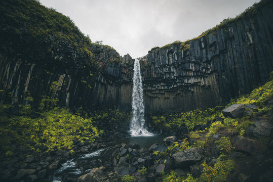 Svartifoss waterfall and rocky cliffs, Iceland
