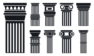 Column icon set. Simple set of column vector icons for web design on white background