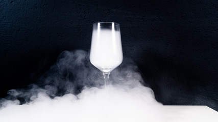 wine glas filled with smoke on a white table with a black background, smoke in glas,