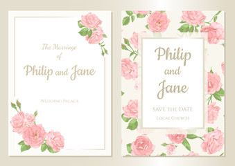 Floral wedding invitation card template design, bouquets of  rose and leaves with rectangle frame on white background, card for valentine's day, mother's day, vintage style. Seamless pattern included.