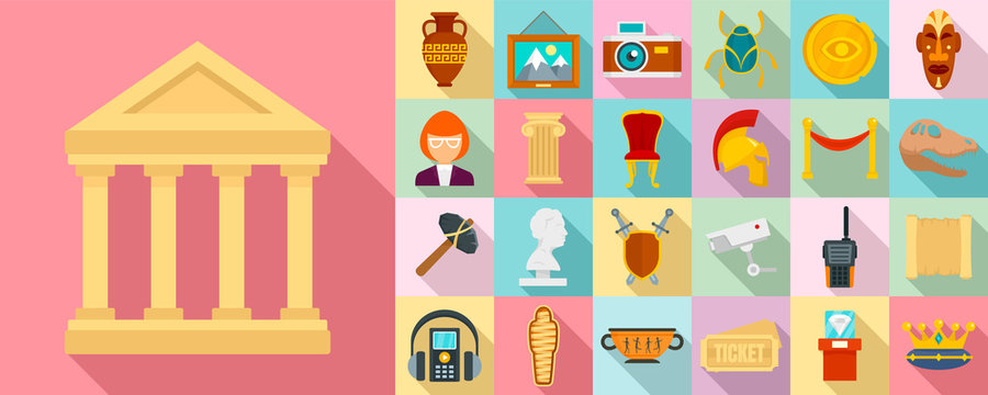 Museum icon set. Flat set of museum vector icons for web design