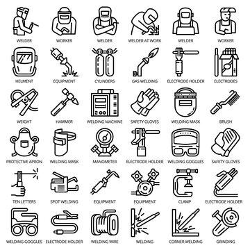 Welder equipment icon set. Outline set of welder equipment vector icons for web design isolated on white background
