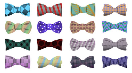 Bowtie icon set. Cartoon set of bowtie vector icons for web design