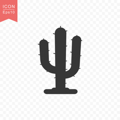 Cactus plant icon simple flat style vector illustration.