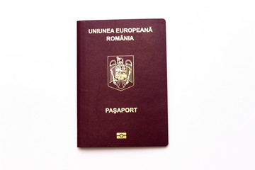 Romanian red passport isolated on white background
