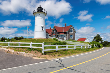 Cape Cod Lighthouse. Nobska Lighthouse, Woods Hole, Cape Cod, New England, Massachusetts, USA.