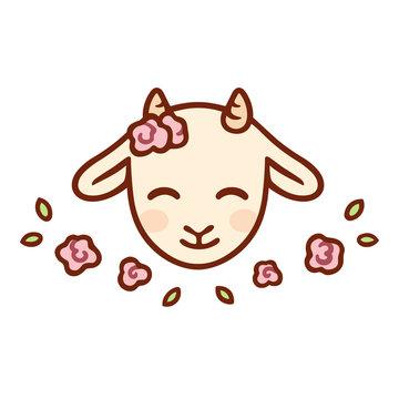 Cute cartoon baby goat