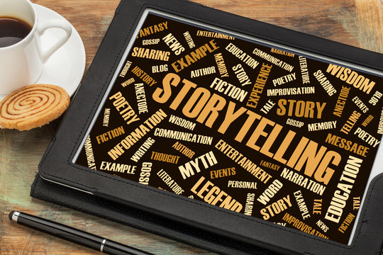 storytelling  and story word cloud on digital tablet