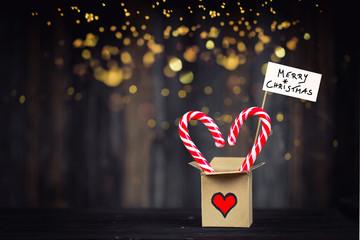 merry christmas - christmas gift box on festive background