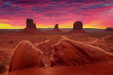 Wall Murals Magenta Sunrise over Monument Valley Tribal Park in Utah-Arizona border, USA