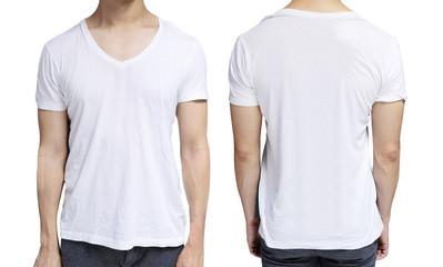White blank v-neck shirt on human body for graphic design mock up