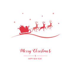 Christmas wishes with hand drawn Santa Claus and reindeers. Vector.