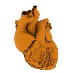 Yellow human heart. 3d illustration