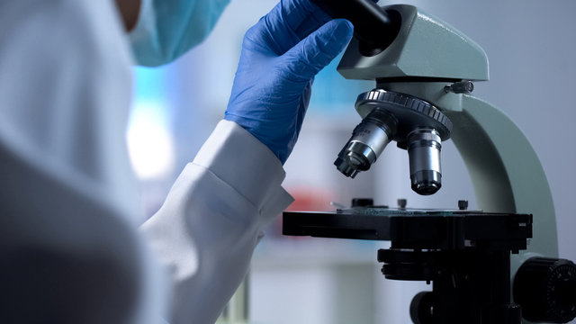 Researcher working with microscope, new medicine development, result analysis