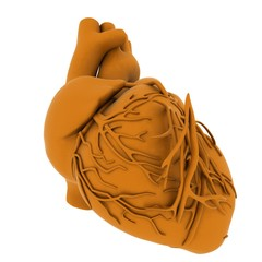 Yellow human heart. 3d illustration