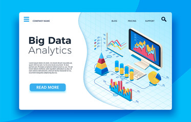 Wall Mural - Isometric big data analytics. Analytical infographic statistic dashboard. 3d vector illustration