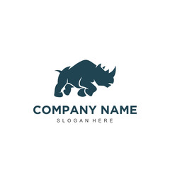 Simple minimalistic modern professional logo design rhino vector EPS illustrator template