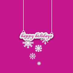 Pink Happy holidays card with snowflake decoration
