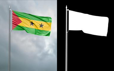 3d illustration of the state flag of the Democratic Republic of São Tomé and Príncipe moving in the wind at the flagpole in front of a cloudy sky with its alpha channel