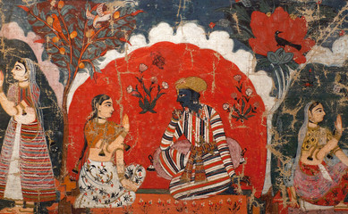 Ancient famous Nepalese painting in Royal palace in Patan, Nepal