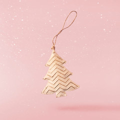 Christmas concept.  Creative Christmas conception made by falling in air christmas retro decoration
