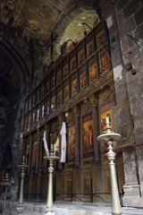 İnterior of the old Catholic Church. The Church inside, the decoration Church. North Cyprus. Bellapais Abbey