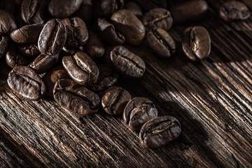 Coffee crops on wooden board
